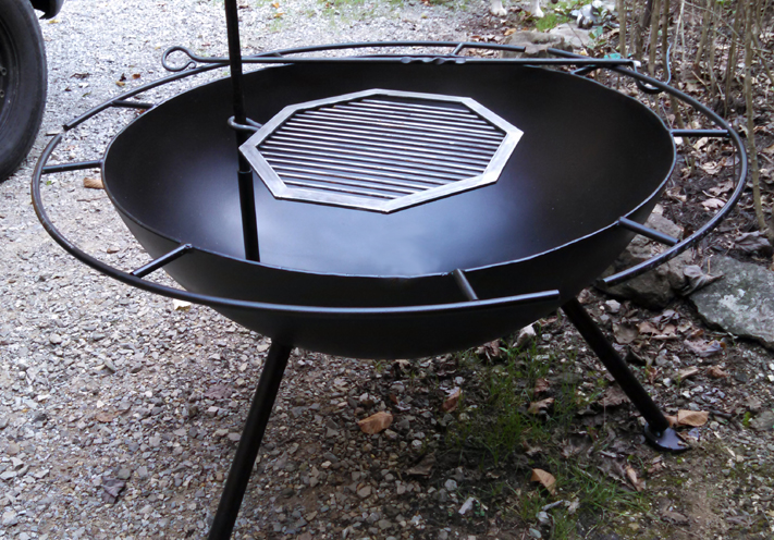 Custom Steel Bowl Fire Pit with Grill, Brad Greenwood Designs