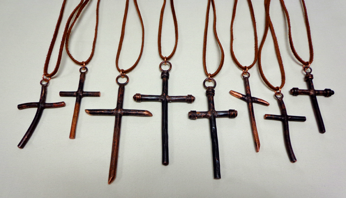 Cross Pendant Necklaces in Copper