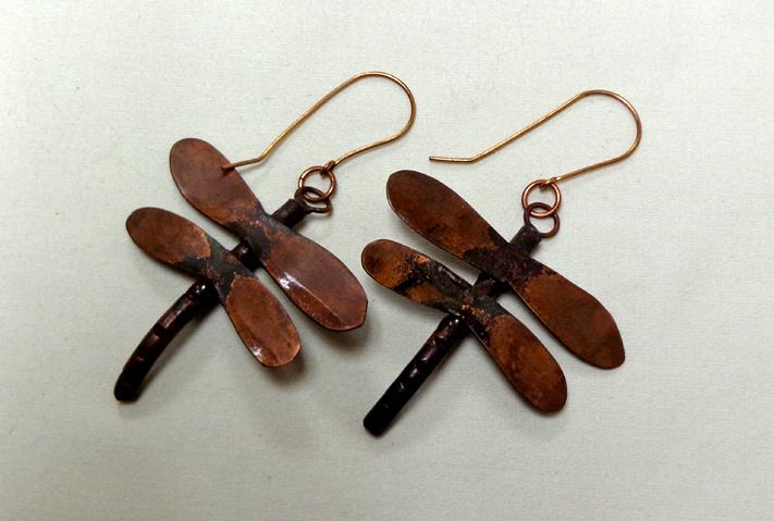 Dragonfly Earrings in Copper