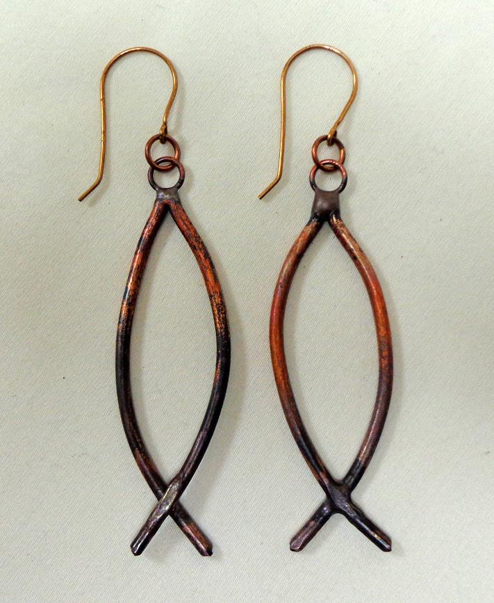 Fish Earrings in Copper