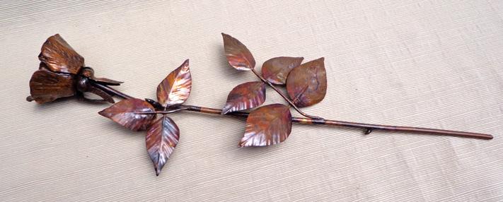 Copper Single Rose Open Flower