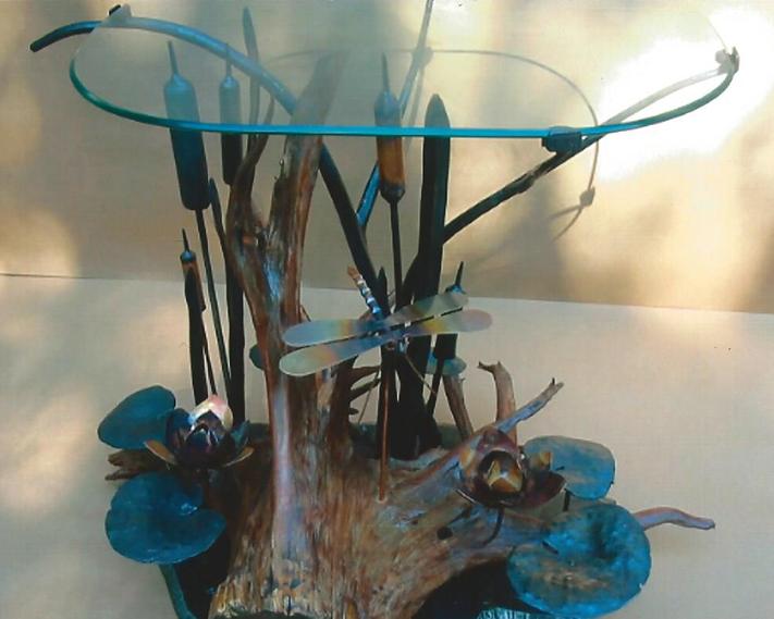 End Table, Steel, Copper, Glass, & Cedar, Brad Greenwood Designs