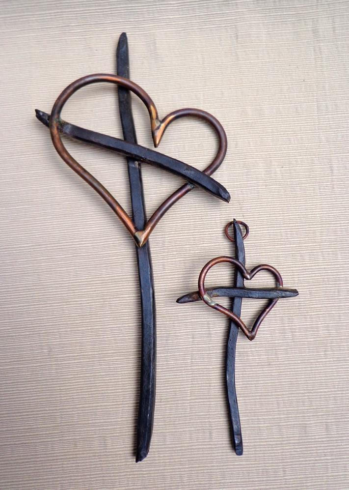 Steel & Copper Cross & Heart, Brad Greenwood Designs