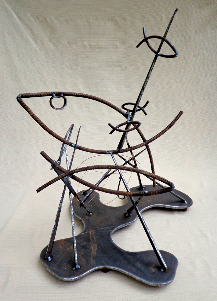 "Steel Abstract Fish Sculpture ""Lessons Learned"""