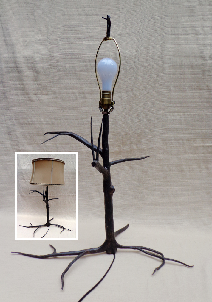 Steel Tree Table Lamp with Shade